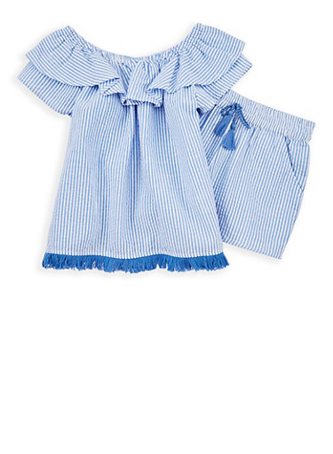 Girls 7-16 Striped Off the Shoulder Top and Shorts Set,WHITE/BLUE,large