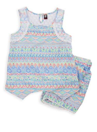 Girls 7-16 Printed Tank Top with Shorts Set,TURQUOISE,large