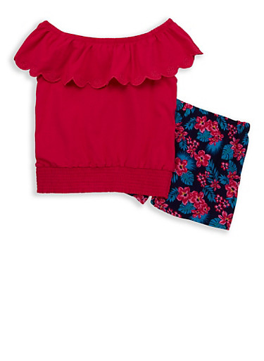 Girls 7-16 Off the Shoulder Top with Printed Shorts,FUCHSIA,large