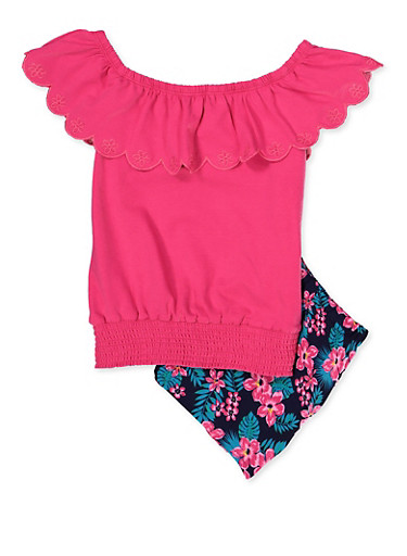 Girls 7-16 Embroidered Off the Shoulder Top and Shorts,FUCHSIA,large