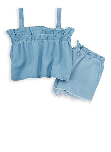 Girls 7-16 Denim Ruffled Top and Shorts Set,BLUE,large