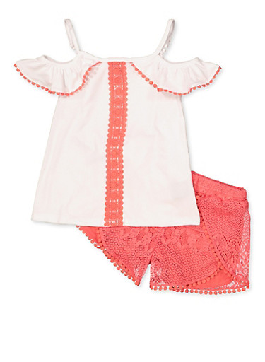 Girls 7-16 Crochet Trim Cold Shoulder Top with Shorts,WHITE,large