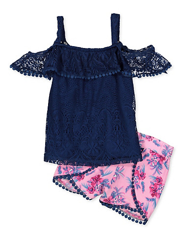 Girls 7-16 Lace Cold Shoulder Top and Shorts,NAVY,large