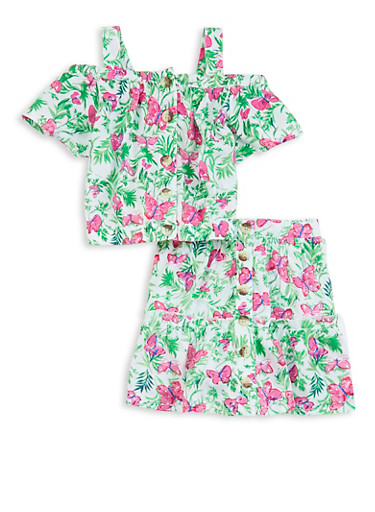 Girls Butterfly Tropical Print Top and Skirt Set,WHITE,large