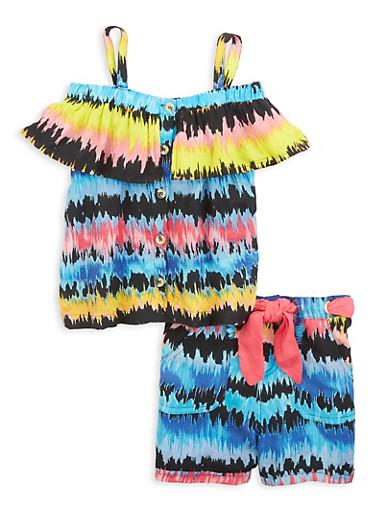 Girls Tie Dye Cold Shoulder Top and Threaded Belt Shorts,BLACK,large