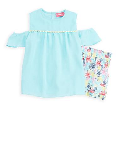 Girls 7-16 Cold Shoulder Top with Floral Shorts,AQUA,large
