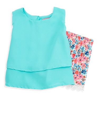 Girls 7-16 Tiered Tank Top with Printed Shorts,AQUA,large