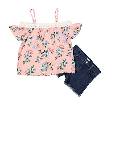 Girls 7-16 Floral Off the Shoulder Top with Jean Shorts,ROSE,large