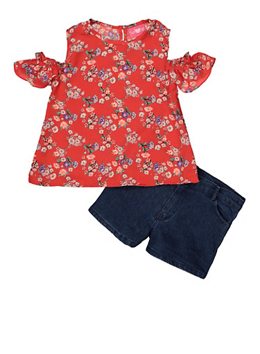 Girls 7-16 Floral Cold Shoulder Top and Jean Shorts,RED,large