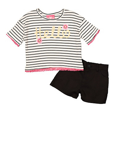 Girls 7-16 Hello Graphic Striped Tee and Shorts,BLACK/WHITE,large