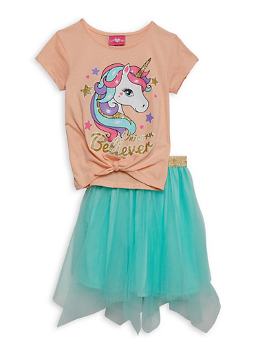 Girls 7-16 Unicorn Believer Tee and Tulle Skirt,TURQUOISE,large