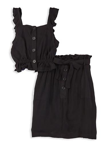 Girls Ruffled Sleeveless Top and Skirt Set,BLACK,large