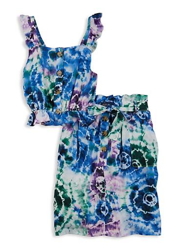 Girls Printed Sleeveless Top and Skirt Set,WHITE,large