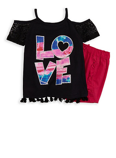 Girls 7-16 Love Graphic Top and Shorts,BLACK,large