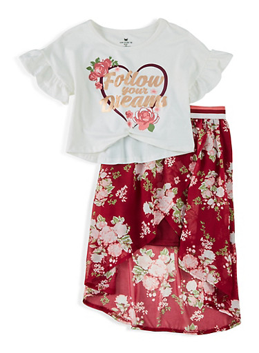 Girls 7-16 Follow Your Dreams Twist Front Top with Skirt,IVORY,large