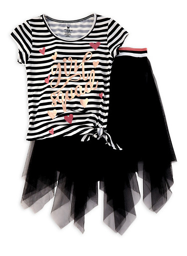 Girls 4-16 Girl Squad Graphic Tee and Tulle Skirt,BLACK,large