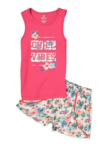Girls 7-16 Chill Vibes Tank Top with Floral Shorts,FUCHSIA,large