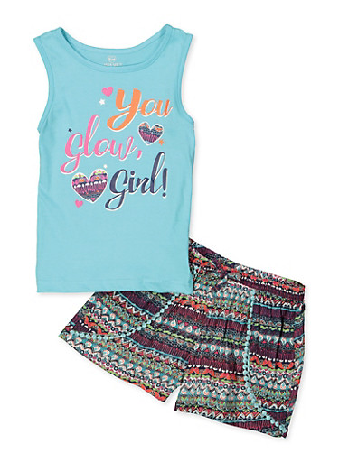 Girls 7-16 You Glow Girl Tank Top with Printed Bottoms,TURQUOISE,large