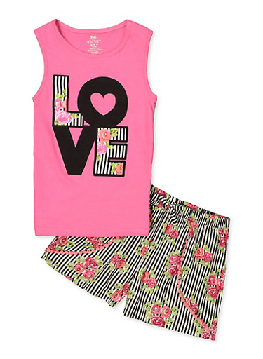 Girls 7-16 Love Tank Top with Printed Shorts,FUCHSIA,large