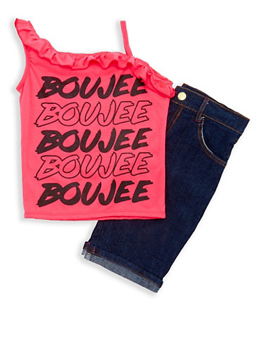 Girls 7-16 Boujee Graphic Top with Denim Shorts Set,FUCHSIA,large