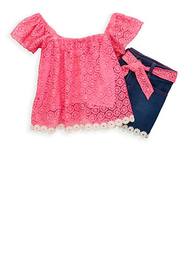 Girls 7-16 Lace Shirt with Denim Shorts,PINK,large