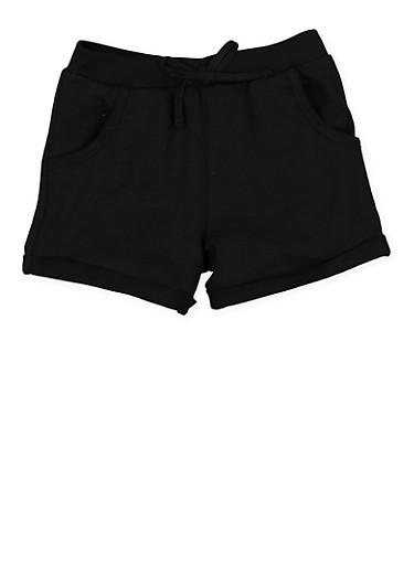 Girls 4-6x Fixed Cuff Shorts,BLACK,large