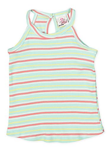 Girls 4-6x Striped Tank Top,GREEN,large
