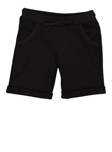 Girls 4-6x Cuffed Bermuda Shorts,BLACK,large
