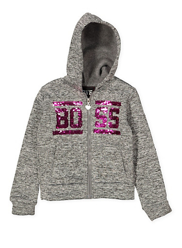 Girls 4-6x Boss Reversible Sequin Graphic Sweatshirt,GRAY,large
