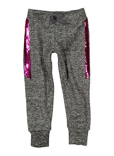 Girls 4-6x Reversible Sequin Trim Joggers,GRAY,large