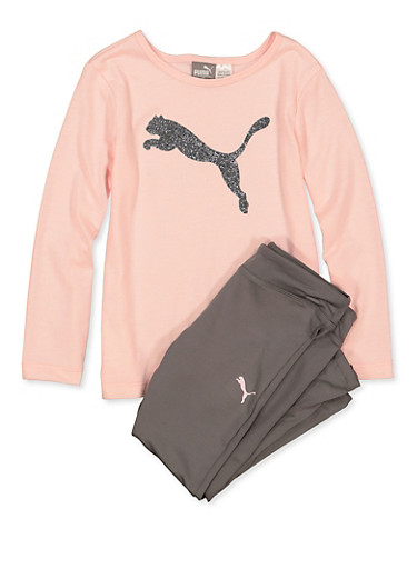 Girls 4-6x Puma Glitter Tee with Active Leggings,PINK,large