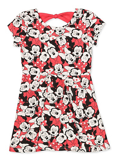 Girls 4-6x Minnie Mouse Bow Back Dress,RED,large