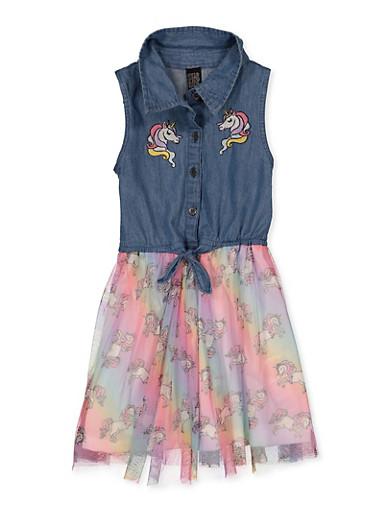 Girls 4-6x Unicorn Denim and Tulle Dress,DENIM,large