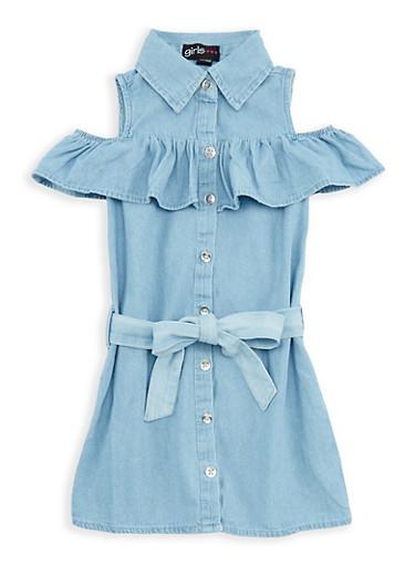Girls 4-6x Denim Ruffle Button Front Dress,DENIM,large