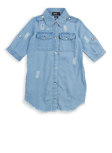 Girls 4-6x Distressed Button Front Denim Dress,DENIM,large