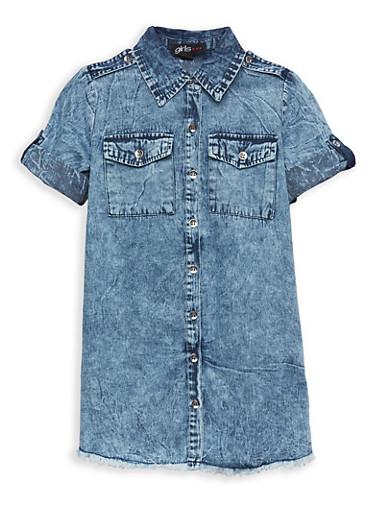 Girls 4-6x Frayed Denim Shirt Dress,DENIM,large