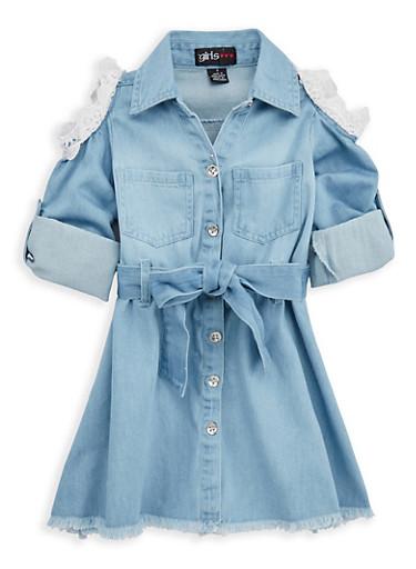 Girls 4-6x Cold Shoulder Denim Dress,DENIM,large