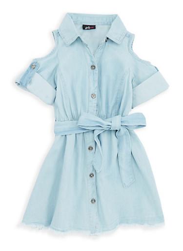 Girls 4-6x Cold Shoulder Belted Denim Dress,MED,large