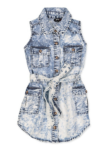 Girls 4-6x Tie Waist Denim Shirt Dress,DENIM,large