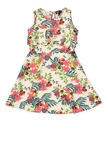 Girls 4-6x Floral Textured Skater Dress with Necklace,IVORY,large
