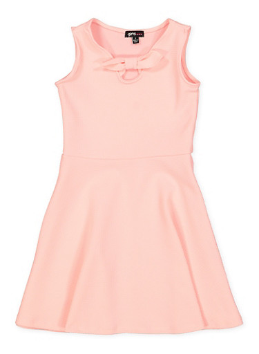 Girls 4-6x Bow Tie Skater Dress,PINK,large