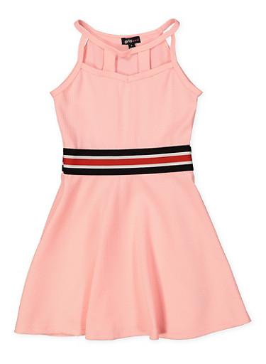 Girls 4-6x Textured Caged Neck Skater Dress,PINK,large