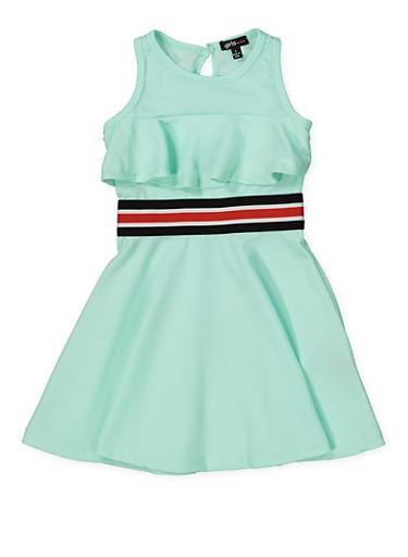 Girls 4-6x Striped Elastic Band Ruffled Skater Dress,MINT,large