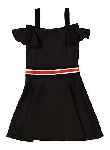 Girls 4-6x Striped Elastic Band Skater Dress,BLACK,large