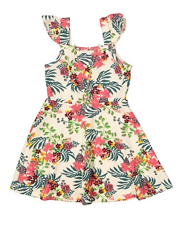 Girls 4-6x Textured Floral Dress with Necklace,IVORY,large