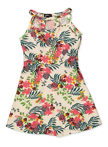 Girls 4-6x Floral Leaf Print Dress with Necklace,IVORY,large