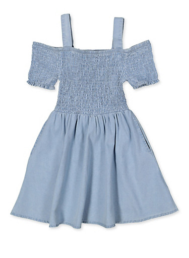 Girls 4-6x Smocked Denim Off the Shoulder Dress,LIGHT WASH,large