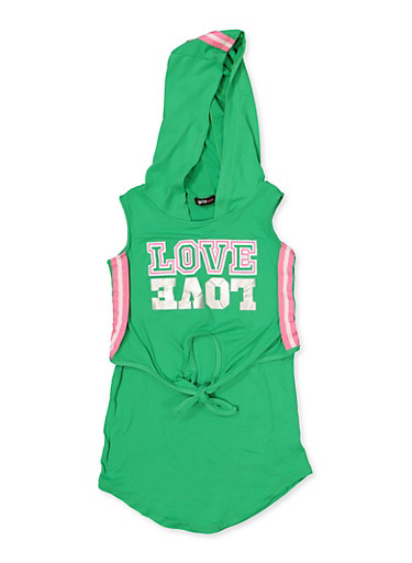 Girls 4-6x Love Tie Front High Low Dress,GREEN,large