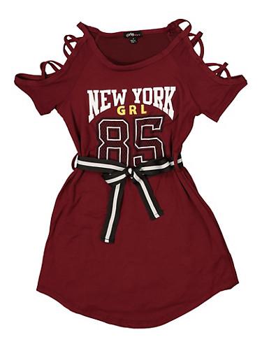 Girls 4-6x Graphic Caged Shoulder T Shirt Dress,WINE,large
