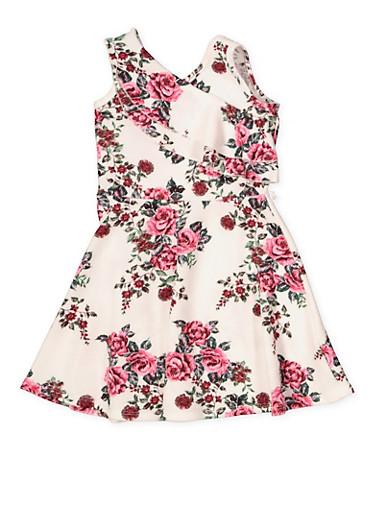 Girls 4-6x Textured Knit Floral Skater Dress,IVORY,large